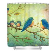 Bluebirds On Branches Shower Curtain