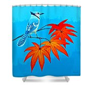 Bluejay In The Fall 2 Shower Curtain