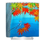 Bluejay In The Fall Shower Curtain