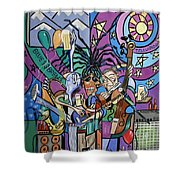Blues And Brews Shower Curtain by Anthony Falbo