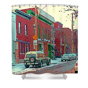 Blues And Brick Houses Winter Street Suburban Scenes The Point Sud Ouest Montreal Art Carole Spandau Shower Curtain