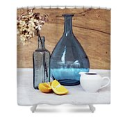 Blues And Oranges Shower Curtain