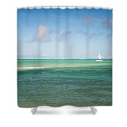 Blues. Mauritius Shower Curtain