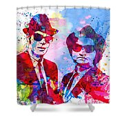 Blues Watercolor Shower Curtain