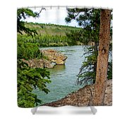 Bluff Over The River In Five Finger Rapids Recreation Site Along Klondike Hwy-yt  Shower Curtain