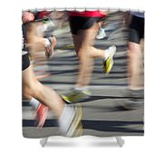 Blurred Marathon Runners Shower Curtain
