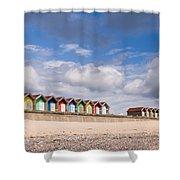 Blyth Beach Huts Shower Curtain