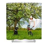 Bmx Flatland Bride Jumps In Spring Meadow Shower Curtain
