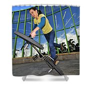 Bmx Flatland - Monika Hinz Riding On Rear Wheel Shower Curtain
