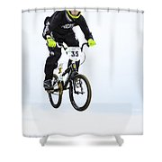 Bmx Racer Goes Airborne Shower Curtain