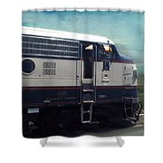Bn F9 Train Engine Textured Shower Curtain