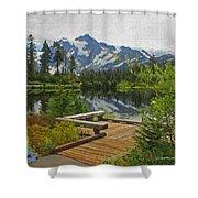 Board Walk- Lake- Fir Trees And Mount Baker Shower Curtain