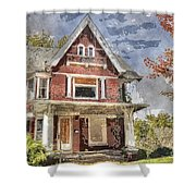 Boarded Up Old Characer Home Watercolor Shower Curtain