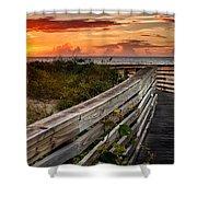 Boardwalk Sunrise Amelia Island Florida Shower Curtain