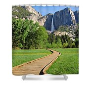 Boardwalk To Yosemite Falls  Shower Curtain