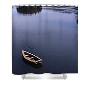 Boat And A Cross Shower Curtain by Skip Willits