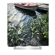 Boat At Dock On Lake Shower Curtain