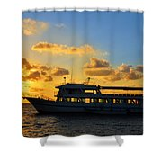 Boat At Sunrise Shower Curtain