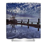 Boat At Sunset Shower Curtain