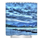 Boat Dock At Holter Lake Shower Curtain