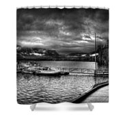 Boat Dock At Sperry Chalet 2 Shower Curtain