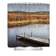 Boat Dock On A Pond In South West Michigan Shower Curtain