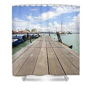 Boat Dock On Jetty In Penang Shower Curtain