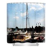 Boat - Docked Cabin Cruiser Shower Curtain