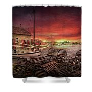 Boat - End Of The Season  Shower Curtain by Mike Savad