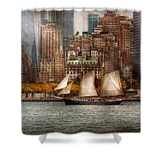 Boat - Governors Island Ny - Lower Manhattan Shower Curtain by Mike Savad