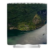 Boat In Geirangerfjord Shower Curtain