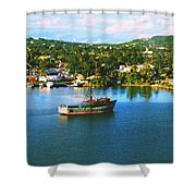 Boat In Harbor Shower Curtain