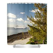 Boat In Port Shower Curtain