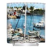 Boat - King's Wharf Bermuda Shower Curtain