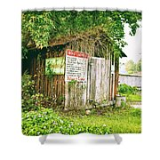 Boat Launch Outhouse - Texture Bw Shower Curtain