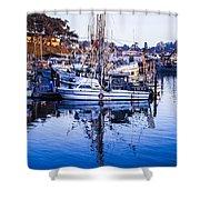 Boat Mast Reflection In Blue Ocean At Dock Morro Bay Marina Fine Art Photography Print Shower Curtain