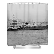 Boat Meet Barge In Black And White Shower Curtain