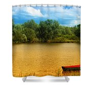 Boat On A Golden Pond Shower Curtain