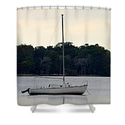 Boat On Calm Waters Shower Curtain