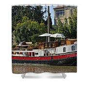 Boat On Canal Du Midi Homps France Dsc01717  Shower Curtain