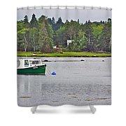 Boat On Cove In Glen Margaret-ns  Shower Curtain