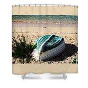 Boat On Devonshire Bay Beach Shower Curtain