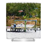 Boat On Dock Shower Curtain