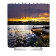 Boat On Lake At Sunset Shower Curtain by Elena Elisseeva