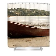 Boat On Shore 02 Shower Curtain
