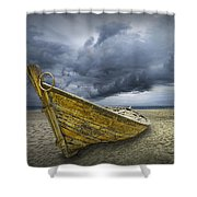 Boat On The Beach With Oncoming Storm Shower Curtain