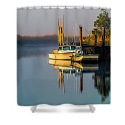 Boat On The Creek Shower Curtain