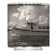 Boat On The Water Shower Curtain