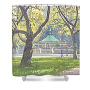 Boat Pond, Central Park Oil On Canvas Shower Curtain