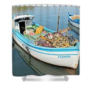 Boat Reflected In Sozopol Harbour Shower Curtain